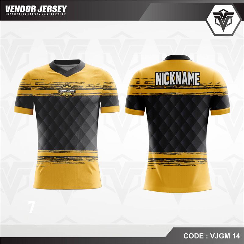 Desain Baju Gaming Esport Warna Kuning Hitam Yang Menawan