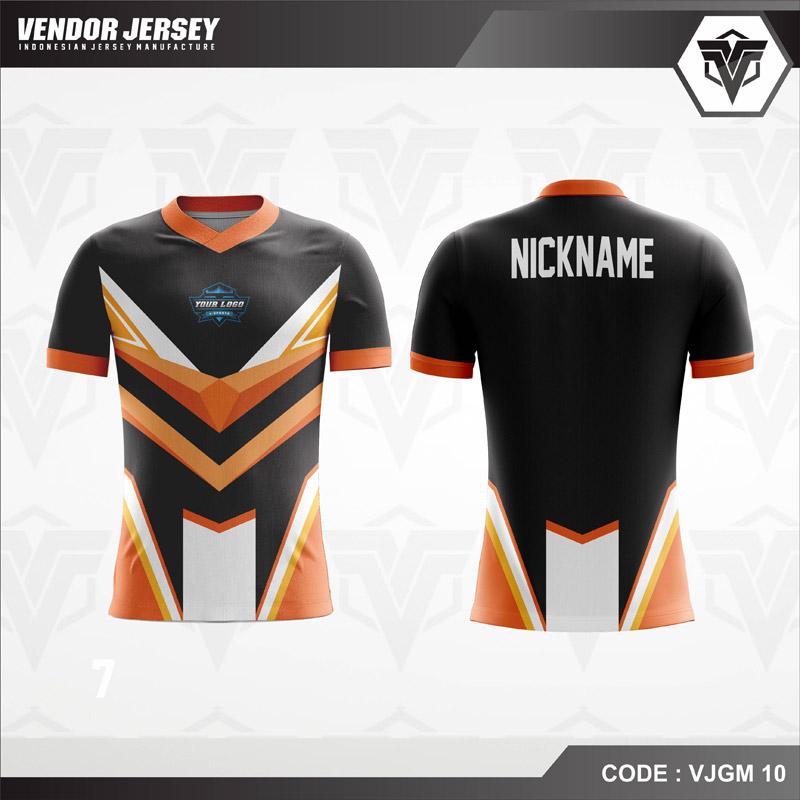 Desain Baju Gaming Printing Warna Hitam Orange Favorit