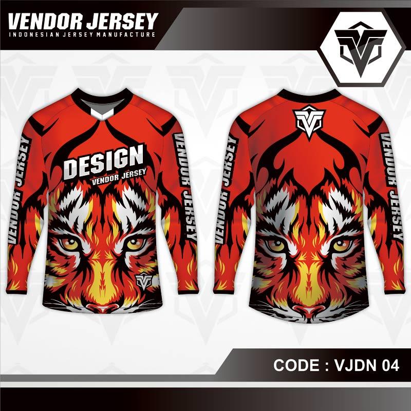 Desain Baju Sepeda Printing Motif Harimau Warna Merah Tampil Beda