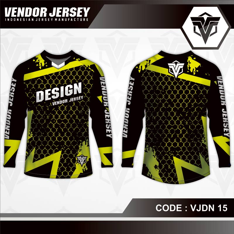 Desain Baju Sepeda Printing Warna Hitam Kuning Motif Jaring