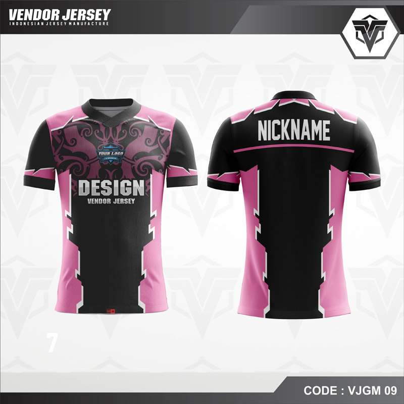 Desain Jersey Esport Warna Hitam Pink Paling Trendy