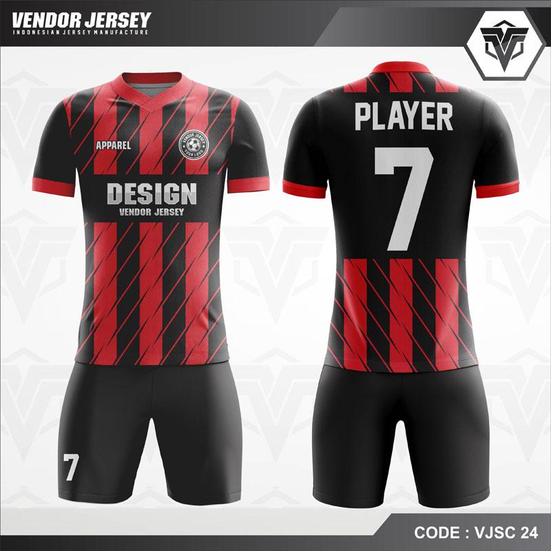 Desain Jersey Futsal Warna Hitam Merah Tampil Memukau