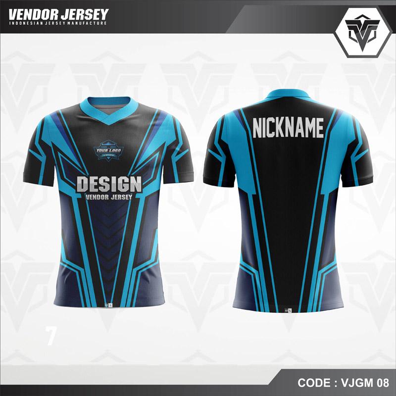 Desain Kaos Gaming Printing Warna Biru Hitam Yang Menawan
