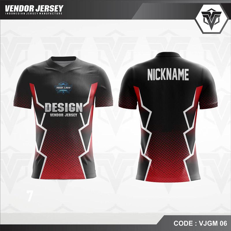 Desain Jersey Gaming Esport Warna Hitam Merah Simple Tapi Berkelas