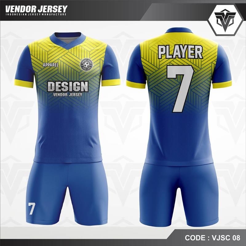 Desain Baju Futsal Printing Warna Biru Kuning Berornamen Modern