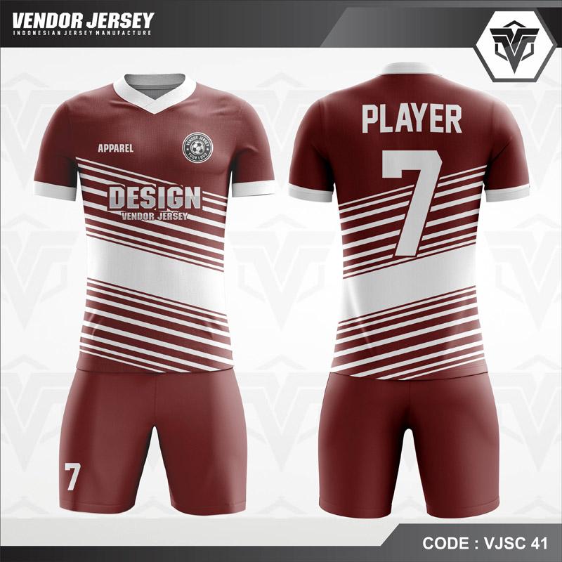 Desain Baju Futsal Warna Coklat Putih Terbaru