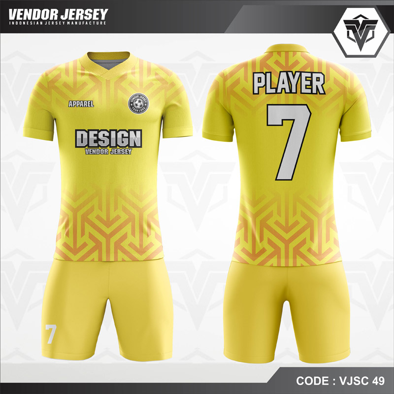 Desain Baju Futsal Warna Kuning Berornamen Modern