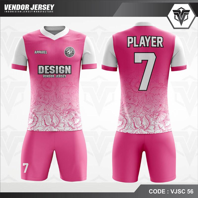 Desain Baju Futsal Warna Pink Motif Batik Bunga Tercantik