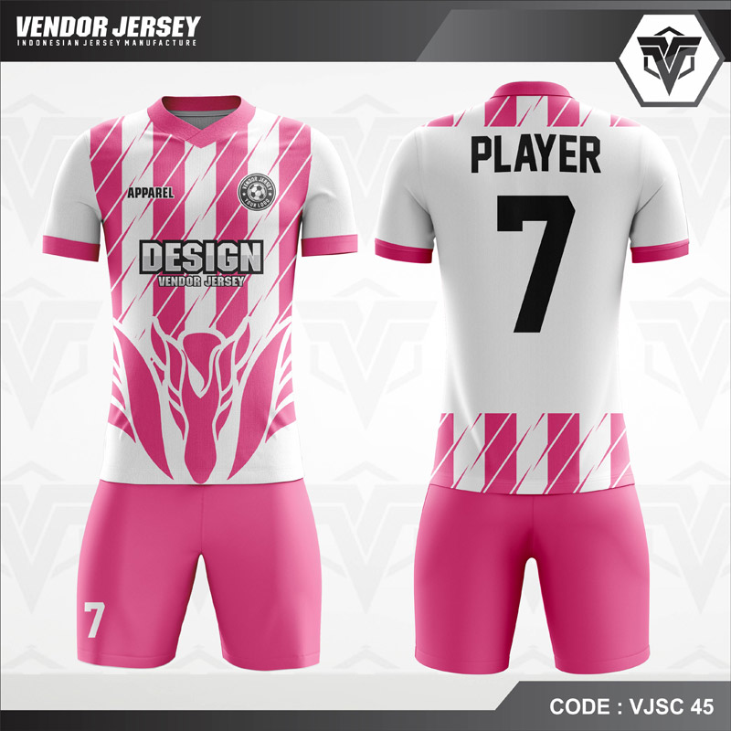 Desain Baju Futsal Warna Pink Putih Yang Cool Dan Trendy