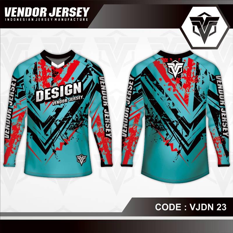 Desain Baju Sepeda Full Print Warna Biru Tosca Kekinian