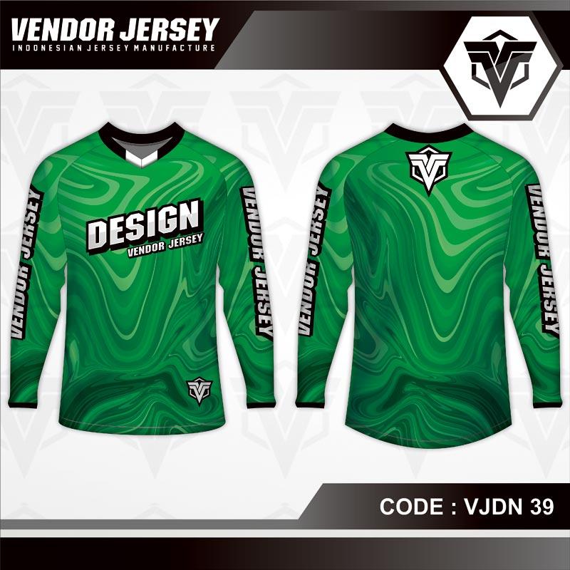 Desain Baju Sepeda Full Print Warna Hijau Bergelombang