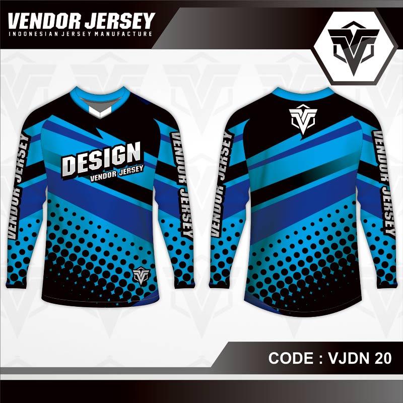 Desain Baju Sepeda Printing Warna Biru Hitam Yang Trendy