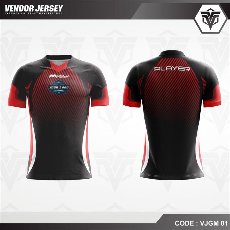 Desain Jersey Esport Printing Warna Hitam Merah Misterius