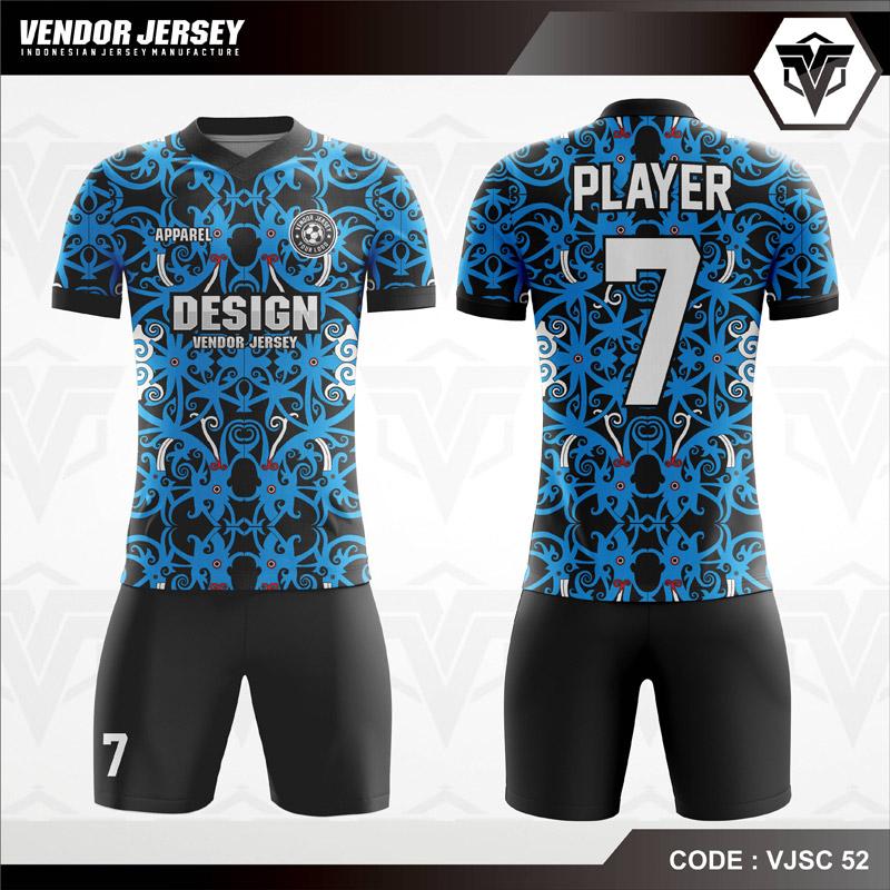 Desain Jersey Futsal Full Print Motif Etnic Warna Biru Hitam Terbaru