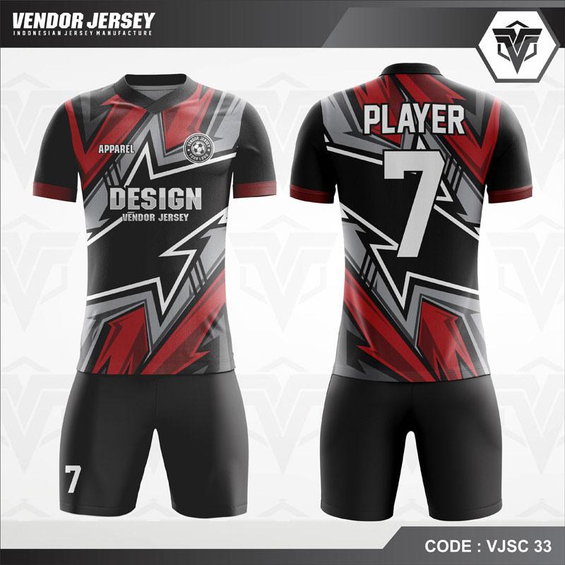 Desain Jersey Futsal Motif Zig Zag Tiga Warna Terbaru