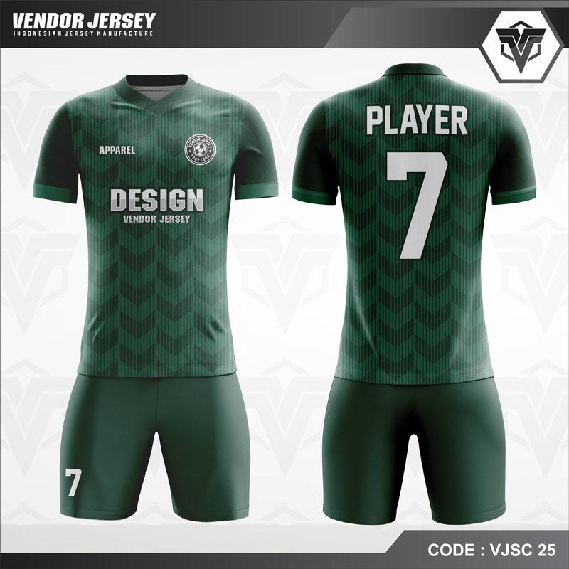 Desain Jersey Futsal Warna Hijau Motif Garis Garis Terbaik