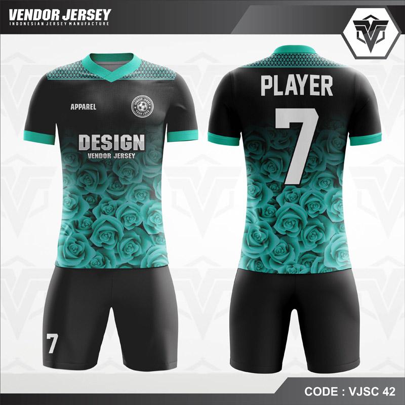 Desain Jersey Futsal Warna Hitam Biru Motif Bunga Tercantik