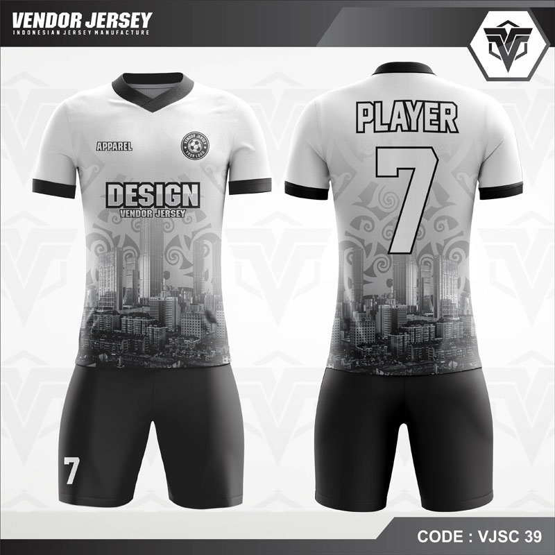 Desain Jersey Futsal Warna Putih Hitam Motif Etnik Modern