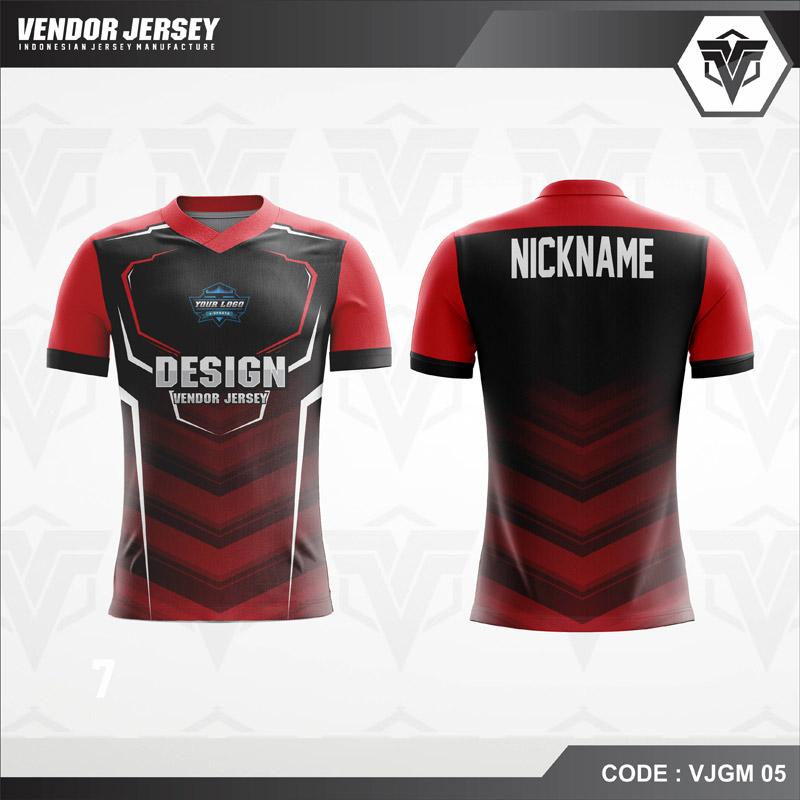 Desain Jersey Gaming Esport Warna Merah Hitam Terbaru