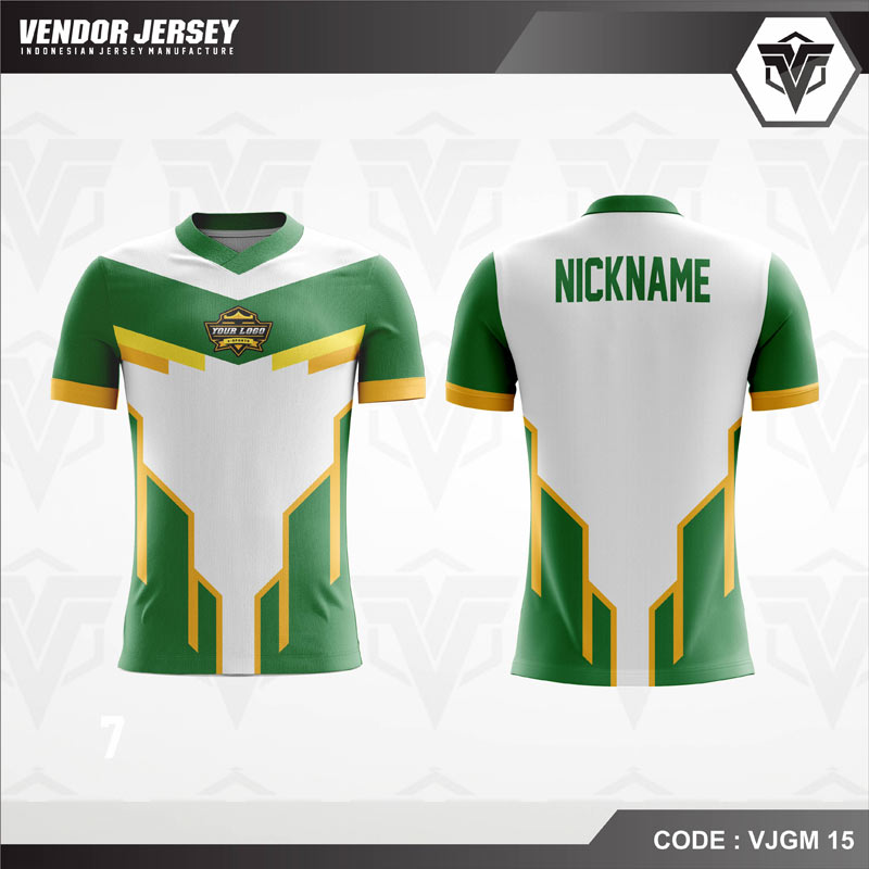 Desain Jersey Gaming Printing Warna Putih Hijau Favorit