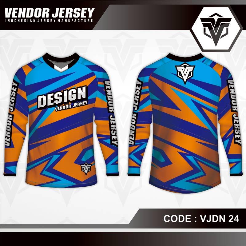 Desain Jersey Sepeda Motif Zig Zag Warna Biru Orange
