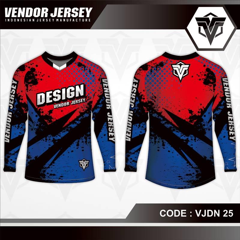 Desain Jersey Sepeda Printing Warna Merah Biru Bergaya Trendy