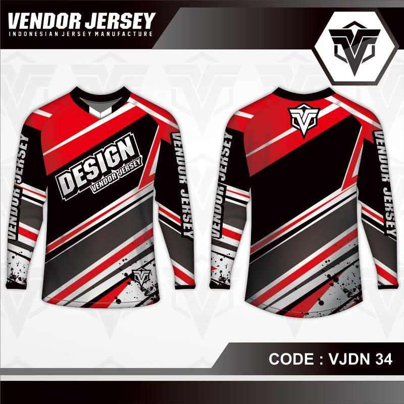Desain Jersey Sepeda Priting Warna Merah Hitam Favorit