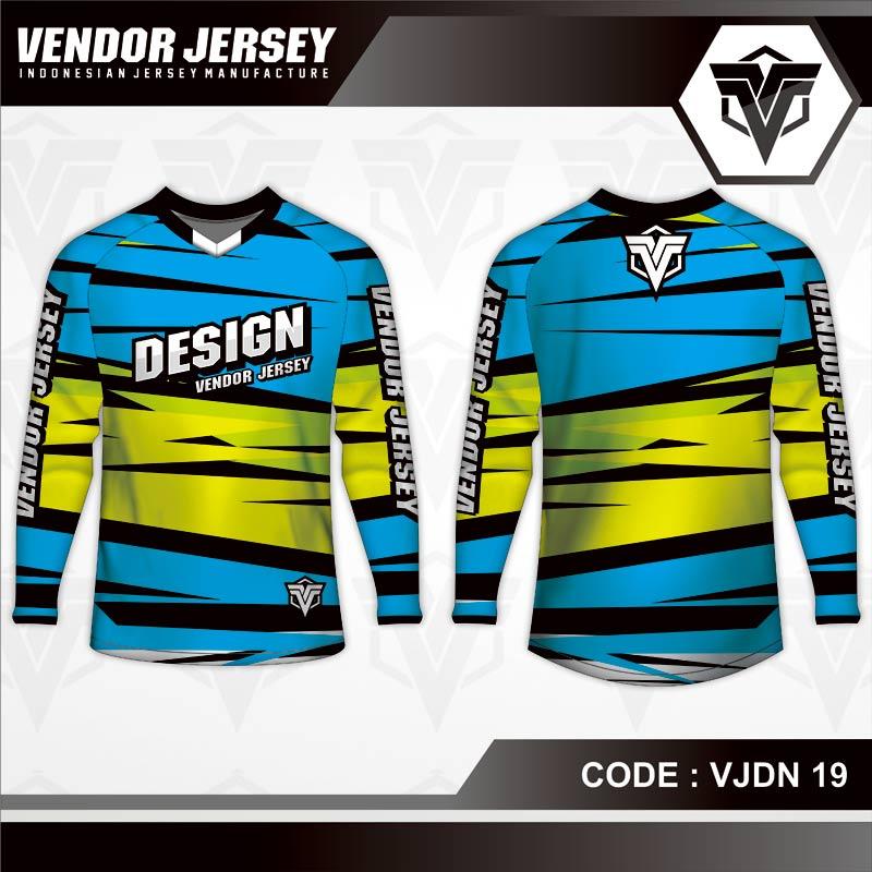 Desain Jersey Sepeda Warna Biru Kuning Paling Keren