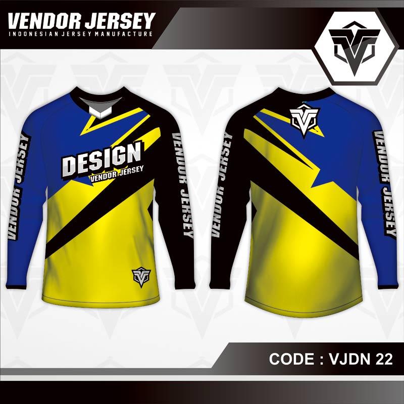 Desain Kaos Sepeda MTB Warna Biru Kuning Hitam Minimalis