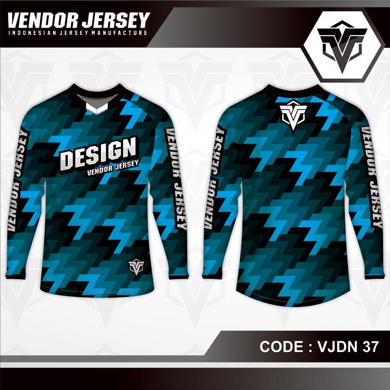 Desain Kaos Sepeda Printing Warna Biru Hitam Yang Keren Banget