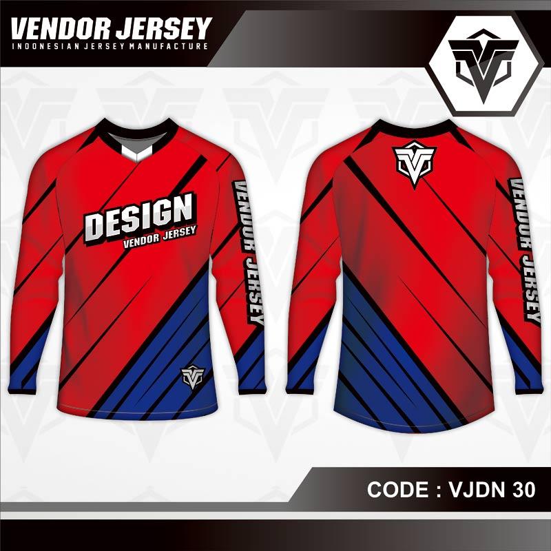 Desain Kaos Sepeda Warna Merah Biru Minimalis