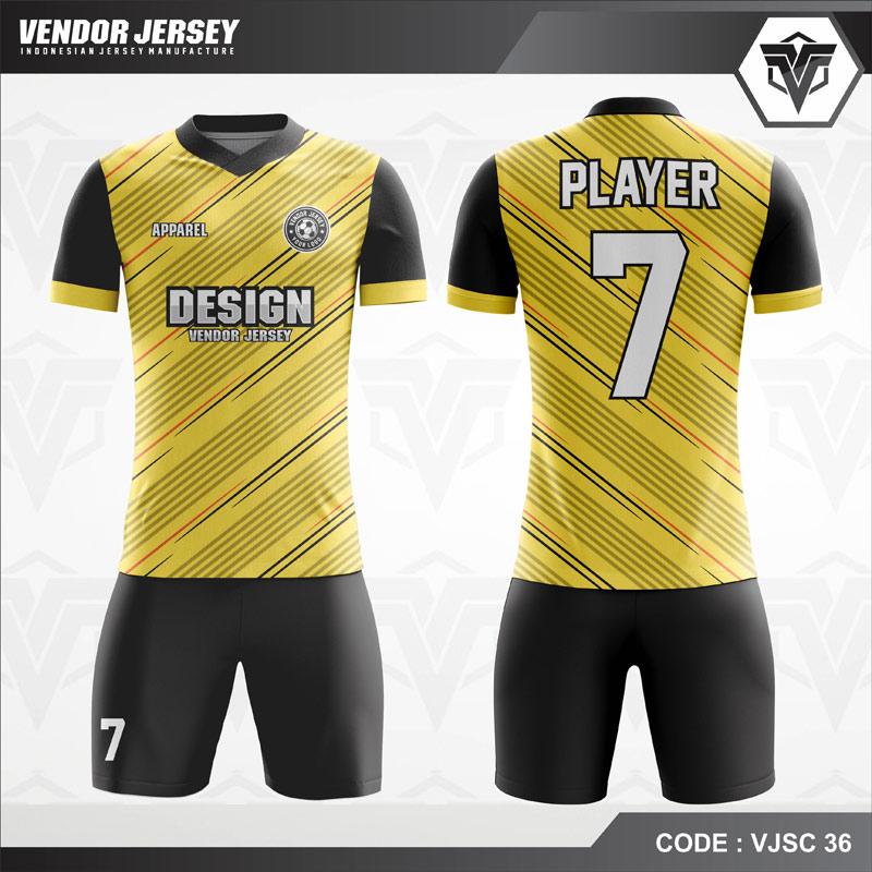 Desain Kostum Futsal Printing Warna Kuning Hitam Yang Memukau