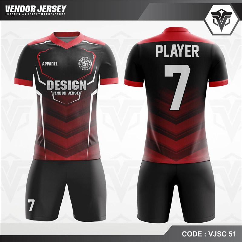 Desain Kostum Futsal Warna Merah Hitam Paling Bagus