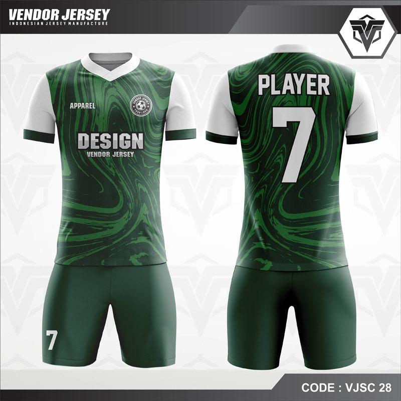 Desain Seragam Futsal Warna Hijau Motif Bergelombang Bergaya Trendy