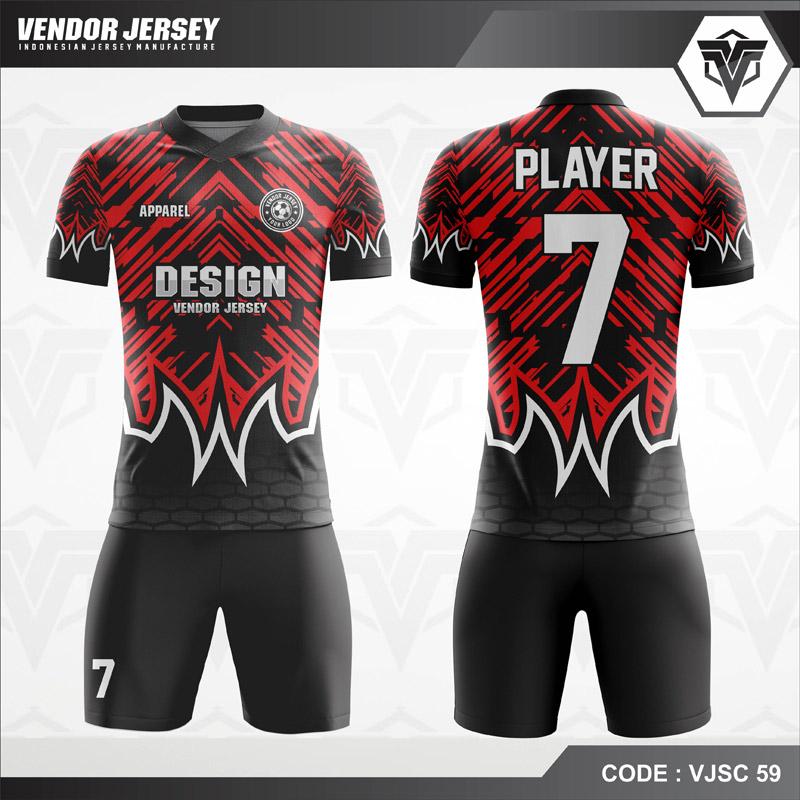 Desain Baju Futsal Warna Hitam Merah Tampil Lebih Berkelas