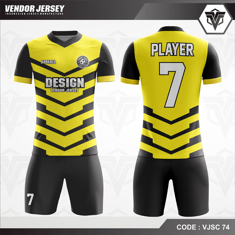Desain Baju Futsal Warna Kuning Hitam Simple Tapi Berkelas