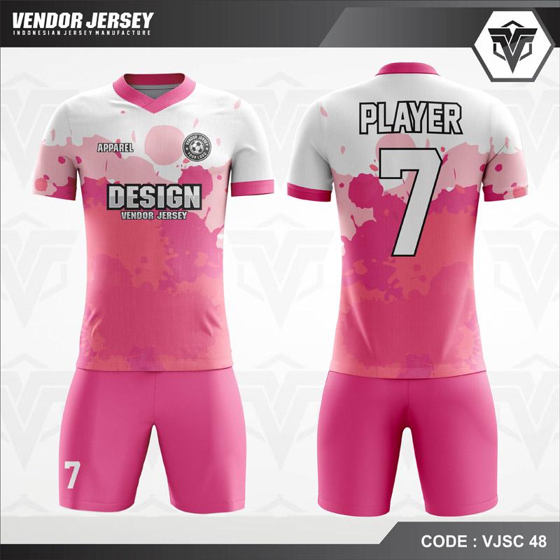 Desain Baju Futsal Warna Pink Putih Tampil Lebih Trendy