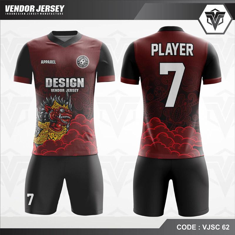 Desain Jersey Futsal Motif Animasi Wayang Warna Merah Hitam Terbaru