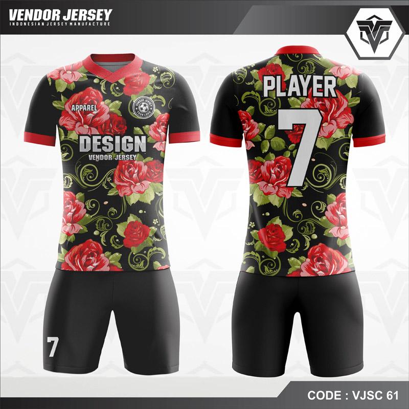 Desain Jersey Futsal Motif Bunga Warna Hitam