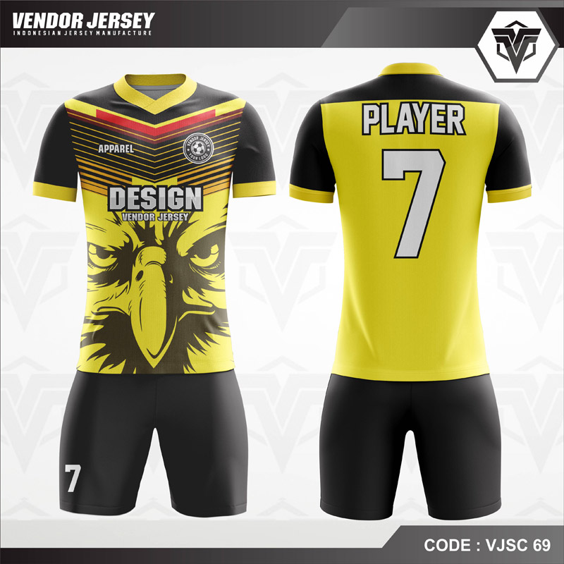 Desain Jersey Futsal Motif Garuda Warna Kuning Hitam Keren Banget
