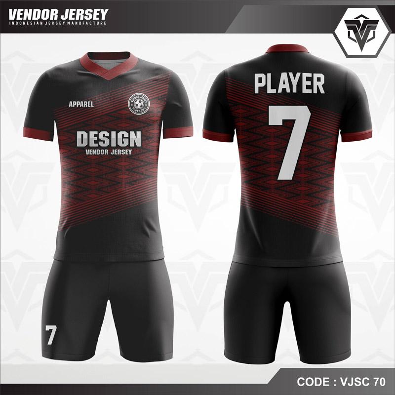 Desain Jersey Futsal Warna Hitam Merah Tampil Misterius