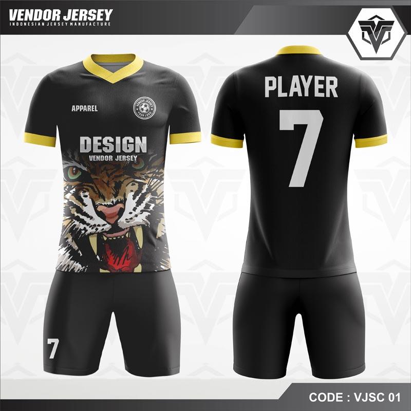 Desain Jersey Futsal Warna Hitam Motif Harimau Tampil Garang
