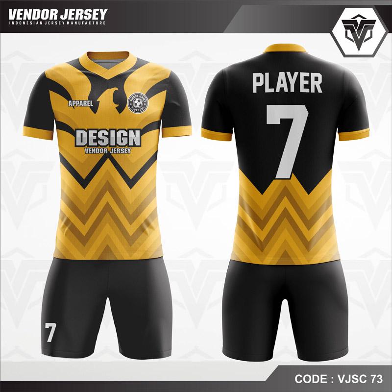 Desain Jersey Futsal Warna Kuning Hitam Berornamen Garuda