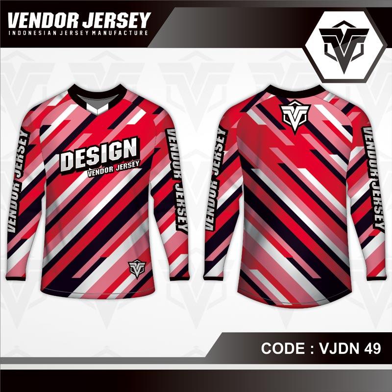 Desain Jersey Sepeda Motif Garis Diagonal Warna Merah Putih Hitam