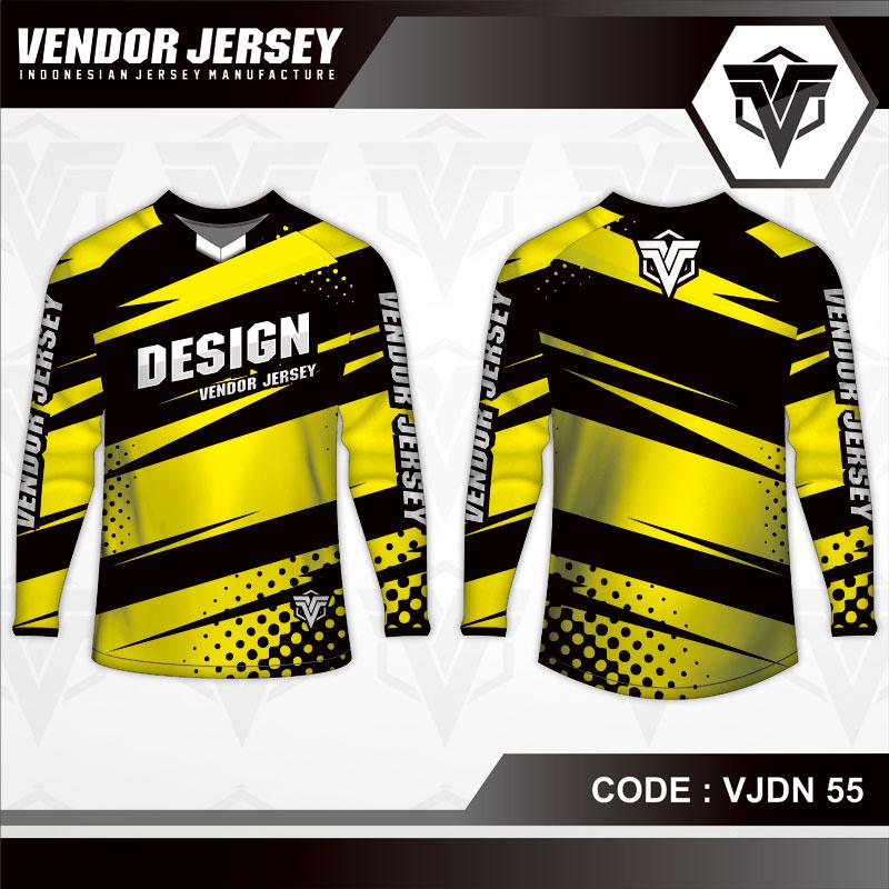 Desain Jersey Sepeda Motif Zig Zag Warna Kuning Hitam Terbaru