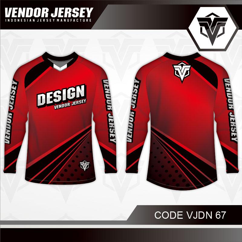 Desain Jersey Sepeda Warna Merah Hitam Minimalis Yang Soulid