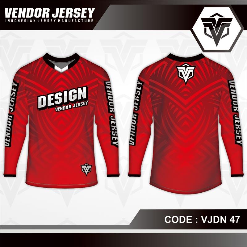 Desain Jersey Sepeda Warna Merah Motif Etnik Minimalis
