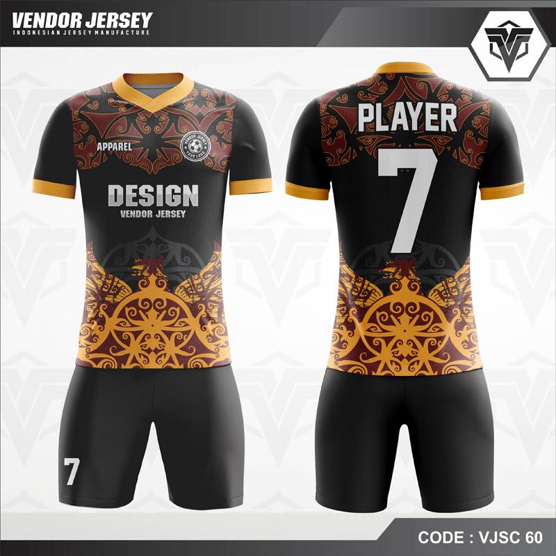 Desain Kaos Futsal Motif Batik Warna Hitam Coklat Menawan