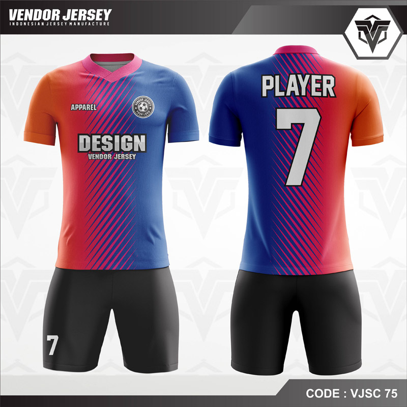 Desain Kaos Futsal Warna Merah Biru Hitam Paling Keren