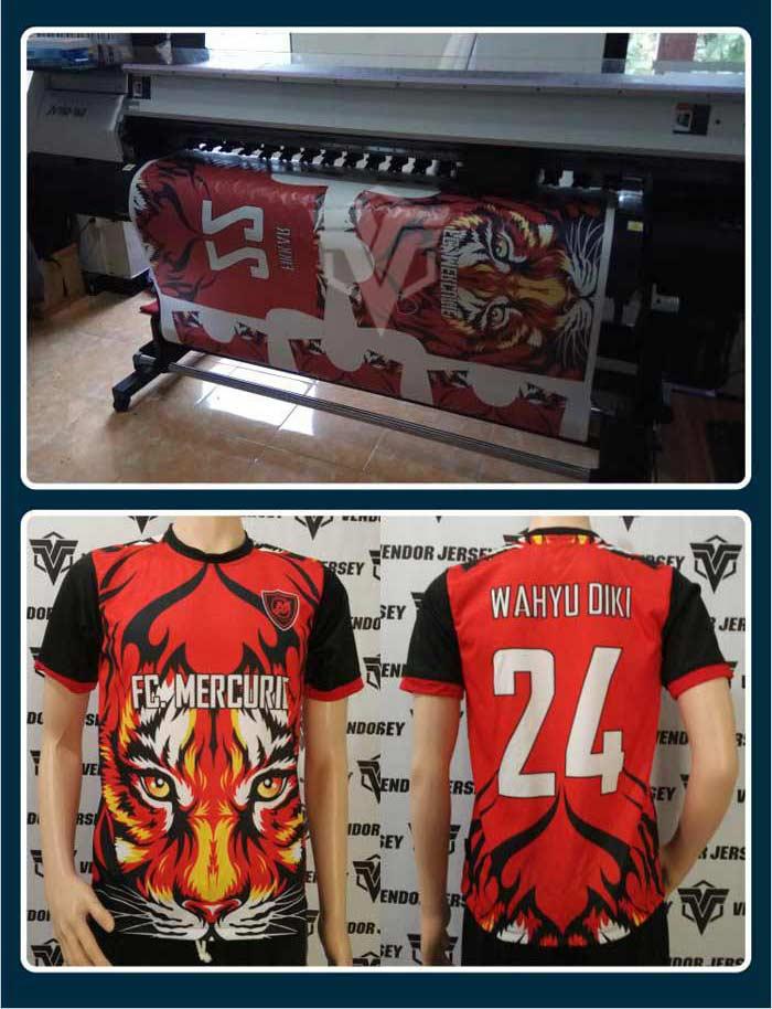 Desain Kaos Futsal Warna Merah Hitam Motif Garis Horizontal